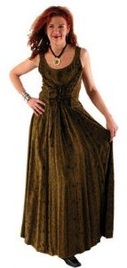 Gothic Hippy Dress~Viscose Embroidered & Laced Full Length Sleeveless Dress~396~Through Folio